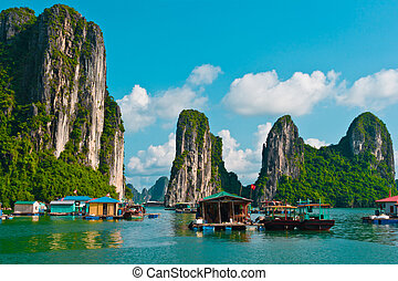 Floating fishing village in Halong Bay, Vietnam, Southeast...