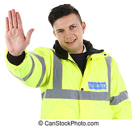 security guard - A guy with a stop sign, isolated on white