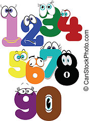numbers soup - numbers in soupy fashion with eyes and...