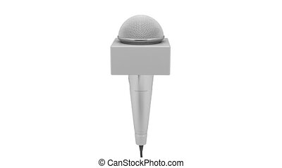 Reporter microphone rotates on white background