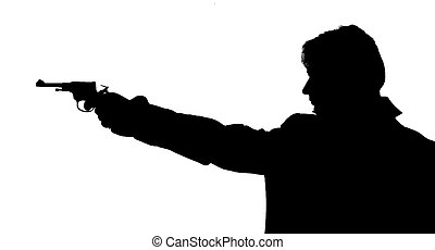 Shot - Silhouette of the person shooting from a revolver