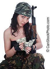 Thief girl in camouflage pants with a gun and big bag full...