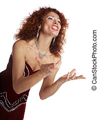 The opera singer on a white background