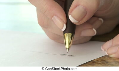 Signature with ballpoint pen - Signing a document with a...