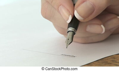 Signature with fountain pen - Signing a document with a...