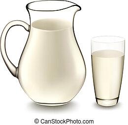 leite, jarro, vidro, leite, vetorial