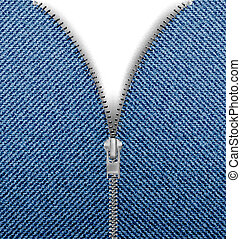 Closeup of zipper in blue jeans background. Vector.