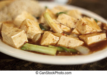 Mo Po tofu dish at a Chinese restaurant