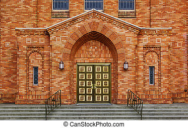Greek Orthodox Brick Chruch - Green brass doors and orange...