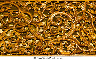 Wood Craft Detail - Detail of a wood panel decoration with...