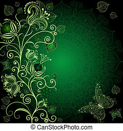 Dark green floral frame with flowers and butterflies vector...
