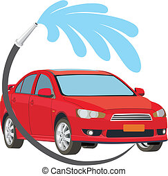 car wash - Car being sprayed with water at the car wash