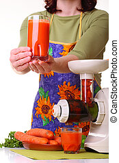 woman prepare Juice extractor and carrot - Woman Juice...