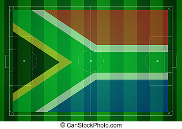Soccer field with South Africa flag
