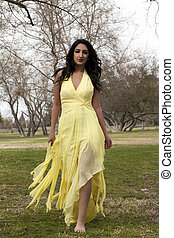 Young Teen East Indian Woman Yellow Dress