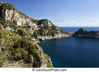 Conca dei Marini (SA), Amalfi coast : landscape from entry...