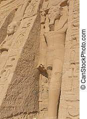 Statues in the temple of Hathor at Abu Simbel (Egypt) -...