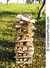 Birch firewood loaded stack Organic fuel fireplace - Birch...