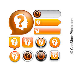 Ask high-detailed web button collection. - Ask orange design...