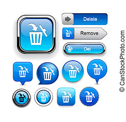 Dustbin high-detailed web button collection. - Dustbin blue...