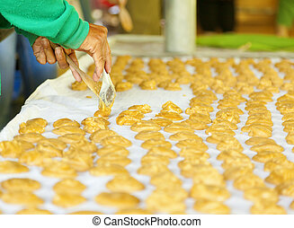 Palm sugar cakes - Making of sugar cakes from coconut palm...