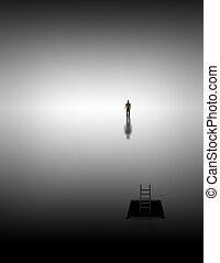 Meditative journey - Man climbs into white space