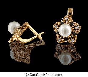 Ouro, brincos, diamantes, pérola, isolado, pretas