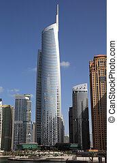 Skyscrapers in Jumeirah Lakes Towers in Dubai, United Arab...