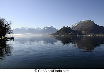 Annecy lake on morning