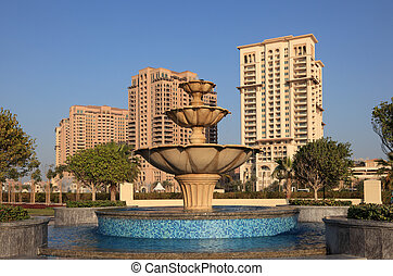 Fountain at The Pearl in Doha, Qatar, Middle East