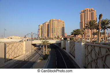 City highway at The Pearl in Doha, Qatar