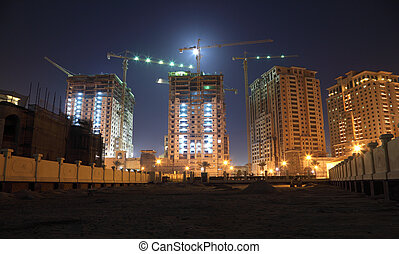 Construction site in Doha at night, Qatar