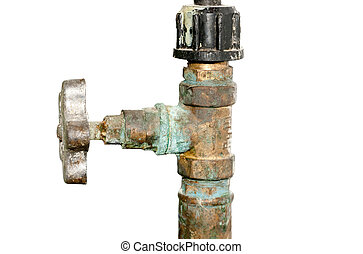 Old Water valve isolated on white background