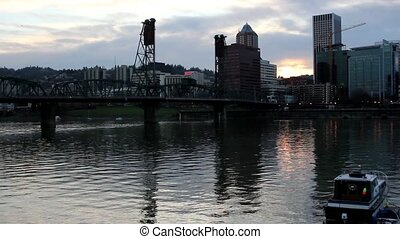 Sunset Over Portland City - Sunset Over Portland Downtown...