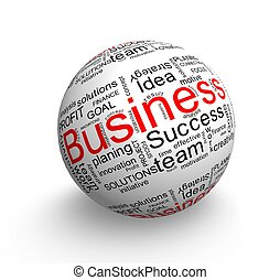 Business ball - Business oriented words on 3d ball