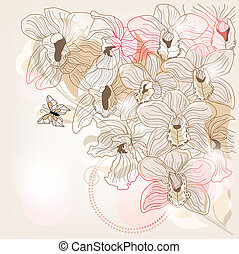 fully decorated orchid background with space for text
