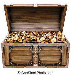 chest - old wooden chest with gold coins isolated on a white...