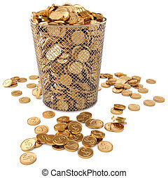 trash bin with gold coins isolated on white background.