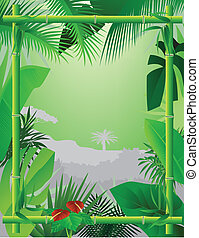 Tropical Background with Bamboo