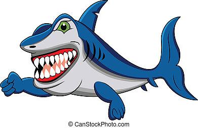 funny shark cartoon - illustration of funny shark cartoon