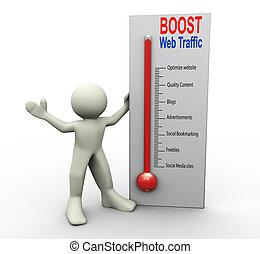 Boost web traffic - 3d man with boost web traffic...