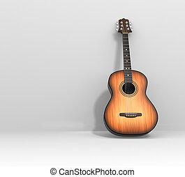 Acoustic guitar. 3d render illustration