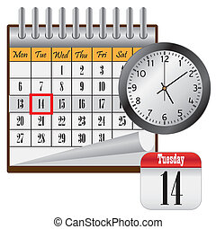 Calendar and clock. - Calendar with month and clock on the...