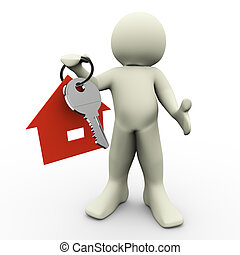 3d man with house keychain - 3d render of man holding house...
