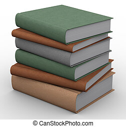 3d books - 3d renders of books on white background