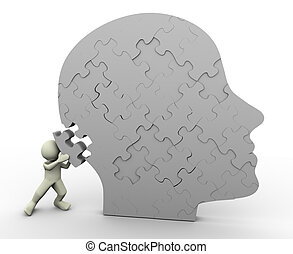 Man and puzzle head - 3d render of man placing puzzle peace