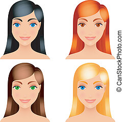 Women hair colors. - Four women with different color of...