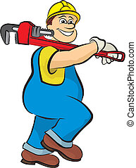 smiling plumber 2 - in working clothes, plumber with a pipe...
