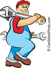 smiling mechanic - in working clothes, adjustable wrench and...