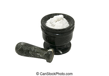 Mortar - mortar with salt for grinding food on white...